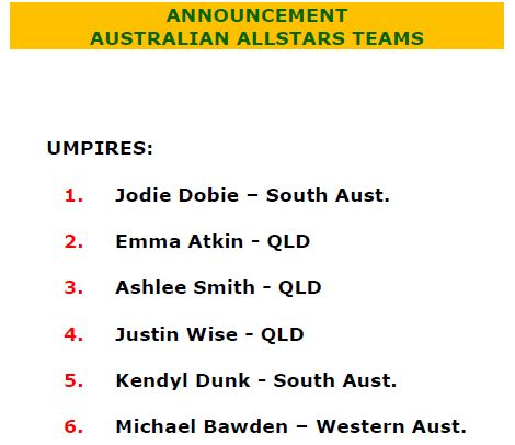INA is proud to announce our Australian AllStars…